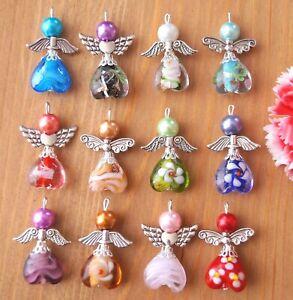 12-Pendente-Charm-Angelo-Vetro-Di-Murano-Cuore-Perline-i-colori-possono-variare-Xmas-tree-decoration