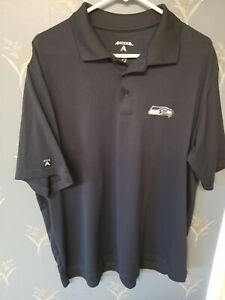 NFL-Seattle-Seahawks-Golf-Polo-Shirt-Antigua-Extra-Large-XL-Navy-Blue-EUC