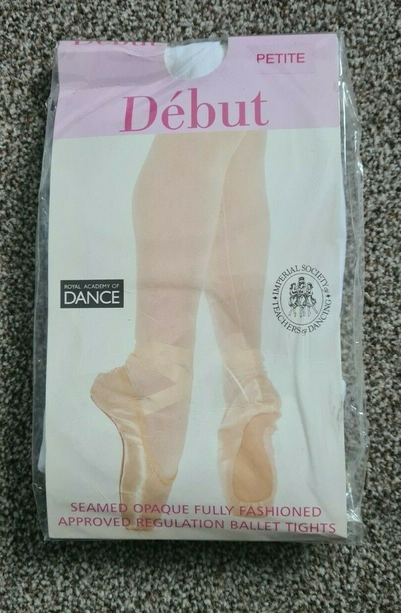 Debut Regulation White Footed Tights Dance Pantyhose Size Petite