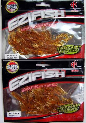 "2 Packs Amber Scented Micro Craw Shrimp Lures 2.5/"" NEW"
