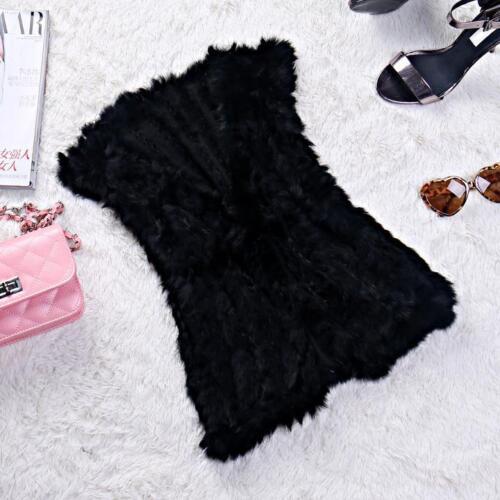 Best Coming Winter Women/'s Real Rabbit Fur Vest Knitted Thin Fur V-Collar Gilet