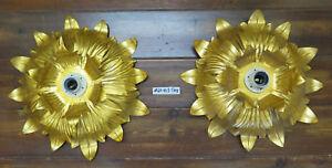 Stupenda coppia di plafoniere in metallo a forma di fiore lampadario