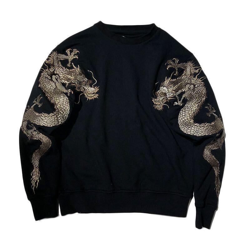 Männer Besteickte Sukajan Sweater Terry Sweatshirt lässig Tattoo Dragon Pullover
