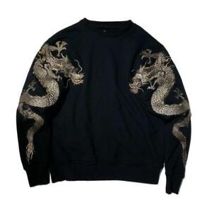 Japanse Dragon Geborduurde Sweater Tattoo Terry Heren Sweatshirt Sukajan Casual pLVSUGqzM