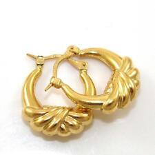 Milor Solid 22K Yellow Gold Love Knot Wide Puffy Hoop Earrings GTA1