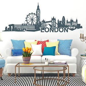 11128 wandtattoo skyline von london mit london eye tower of london stonehenge uk ebay - Skyline london wandtattoo ...