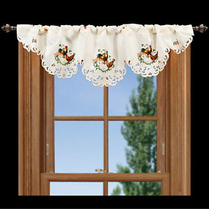 Embroidered-Beautiful-Rooster-and-Chicken-Window-Valance-14-034-X-54-034