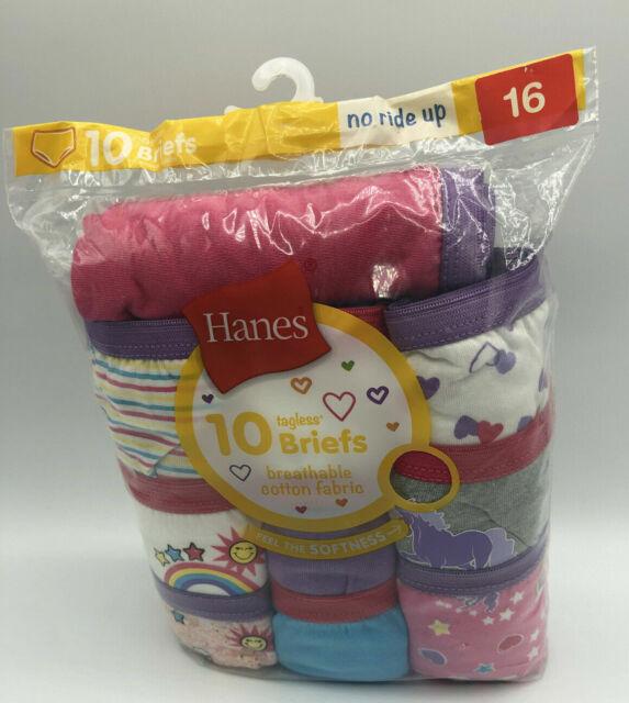 Hanes Girls Briefs Tagless 10-Pair Underwear No Ride Up Multi-Color Size 16 G21