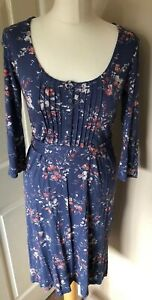 Fat-Face-Jersey-Blue-Floral-Dress-10-Easy-Care-3-4-Sleeve-Tie-Waist