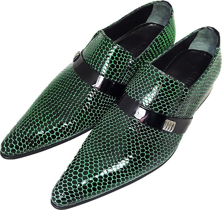 100% Chelsy - Italienischer Designer Party Slipper Netzmuster schwarz grün 44