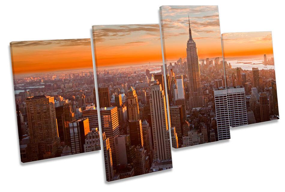 New York Stadt Orange Sunset MULTI CANVAS Wand Kunst Boxed Framed