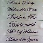 HENS NIGHT BRIDAL PARTY SASH BRIDE BRIDESMAID MAID OF HONOUR SASHES WHITE PURPLE