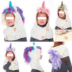 Unicorno-Cappello-Sciarpa-Bambina-Maglia-Girl-Knitted-Hooded-Scarf-CROCH04