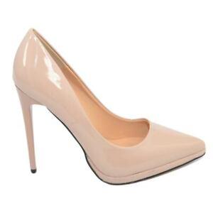 Decollete' donna a punta nude tacco a spillo 12 cm lucido beige comode plateau s