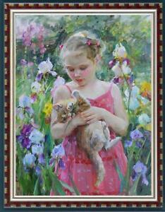 "Oil painting original Art Impressionism Portrait girl cat on canvas 24""x36"""