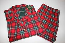NWT RALPH LAUREN Size Lrg Women's L/S Red Tartan 2 Piece Flannel Pajama Pant Set