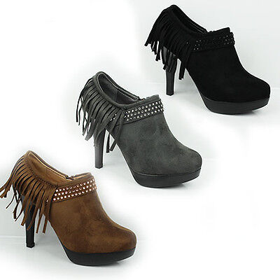 WOMENS LADIES PLATFORM HIGH HEEL TASSEL LOW ANKLE BOOTS BOOTIES SHOES SIZE 2-7