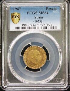 Spain-Francisco-Franco-Peseta-1947-1953-PCGS-MS64-Gold-Shield