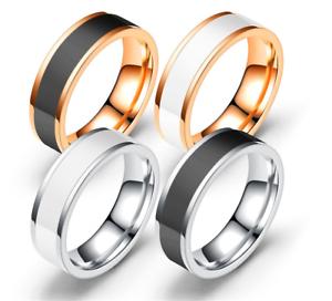 Anello-Uomo-Donna-Acciaio-Inox-Argento-Oro-Fedine-Fedina-Fidanzamento-Fascia