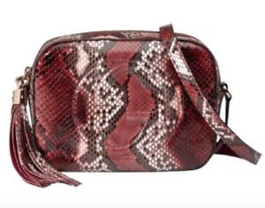 b3a61f7038b2 Image is loading Gucci-Soho-Disco-Python-Snake-Multicolor-Red-Crossbody-