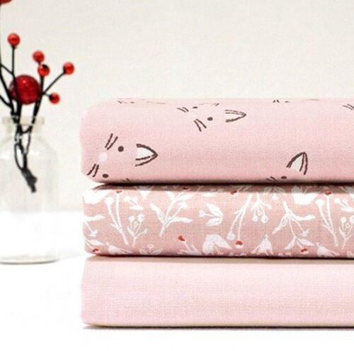3 x Cotton fabric Fat Quarters BUNDLE  PACKAGE cute cat face pink quarter JP43