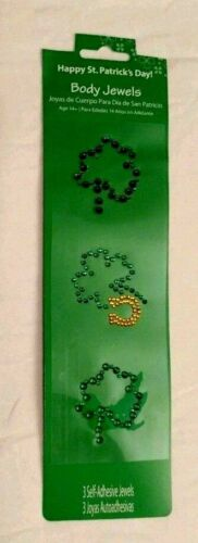 Body Jewels Temporary Adhesive Shamrocks Green Gold 3 Pack Sequins Lot of 2 NIP