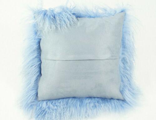 Füllung Farbe Himmelblau lockiges Lammfell Tibetlammfell Kissen 40x40cm inkl