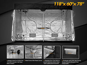 Image is loading Hydroponic-Reflective-600D-10x5-039-Grow-Tent-100- & Hydroponic Reflective 600D 10x5u0027 Grow Tent 100% Room Indoor Mylar ...
