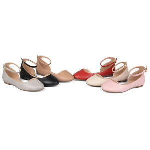 Brinley-Co-Womens-Faux-Leather-Wide-Width-Ankle-Strap-Round-Toe-D-039-orsay-Flats