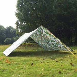 Image is loading Camo-Tent-Tarp-Awning-Canopy-Sun-Shade-Rain- & Camo Tent Tarp Awning Canopy Sun Shade Rain Shelter Camping Beach ...