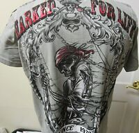 Marked For Life T-shirt Men's Authentic Tattoo Inspired Tee Shirt - Gray