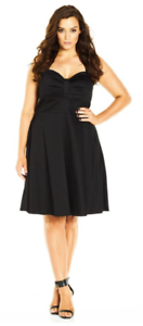 City-Chic-Black-In-The-Present-Fit-amp-Flare-Cocktail-Party-Dress-Women-039-s-Sz-L-20