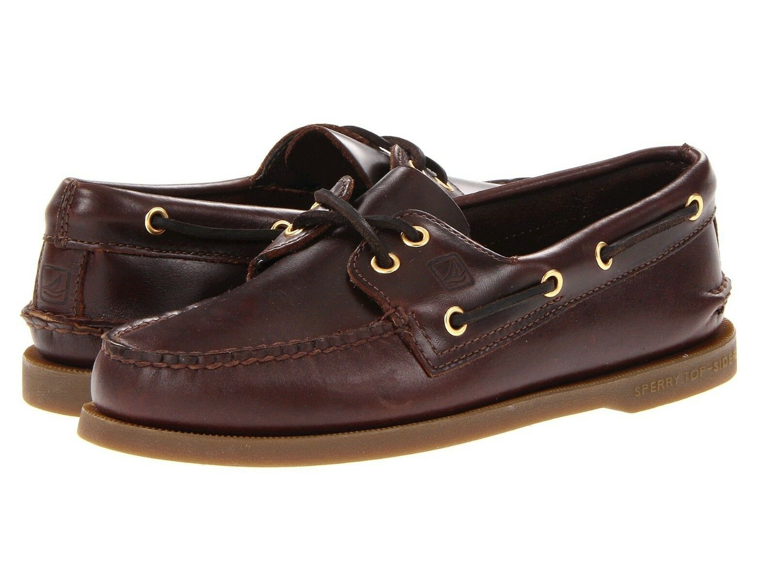 NEW Mens Sperry Top-Sider Amaretto Brown Leather Authentic Original Boat shoes