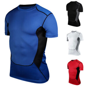 Men-Base-Layer-Short-Sleeve-Shirt-Training-Fitness-Sport-Compression-Muscle-Tops