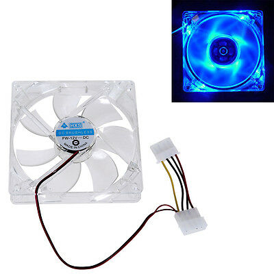 120mm 4 Blue LED Light CPU Cooling Fan Computer PC Clear Case Quad 12CM Heatsink