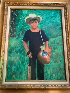 Vintage-Mexican-Peasant-Bird-Boy-Outsider-Art-Signed-Oil-Painting-Framed