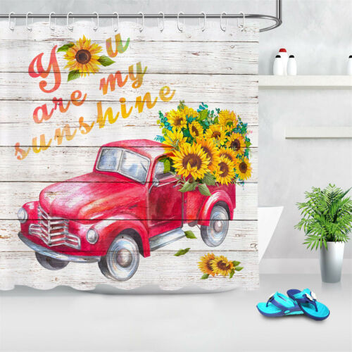 Vintage Red Truck Sunflowers Rustic Wood Wall Shower Curtain Set Bathroom Decor