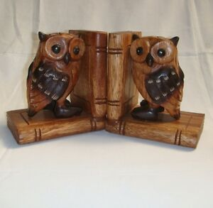 Wooden Wise Owl Pair Bookends handcarved Fair Trade from Thailand Fair Trade