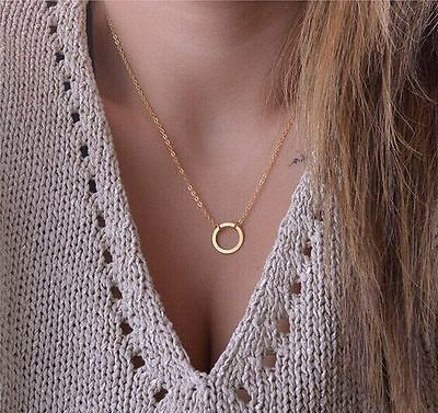 1X Handmade Forever Circle Gold Ring Necklace Eternity Infinity Fashion Jewelry