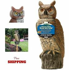 "Scarecrow Owl Rotating Head Garden Fake Realistic Pest Control Decoy Brown 18"""