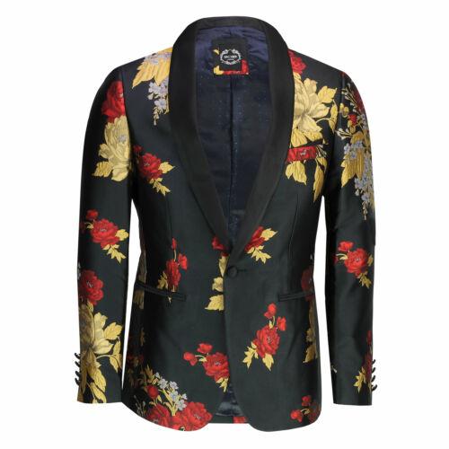 Mens Vintage Floral Red Gold Rose Flock Print Black Tux Jacket Tailor Fit Blazer