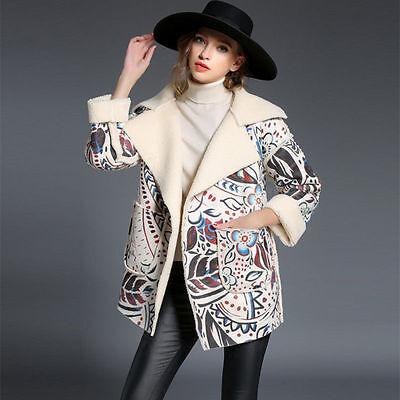 New Fashion Print Suede Outwear Winter Sheepskin Parka Women Coat Warm Jacket