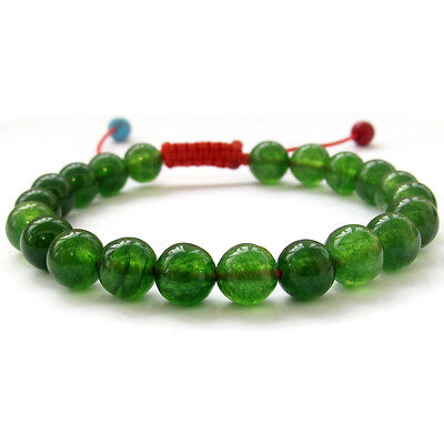 8mm Green Jade Gem Tibet Buddhist Prayer Beads Mala Bracelet