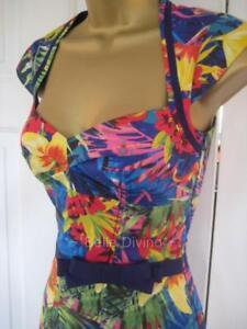 Details about BNWT Karen MiIlen £140 UK 6 8 10 12 BRIGHT Summer TROPICAL Flared 1950s Dress