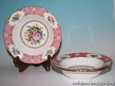 "Royal Albert Lady Carlyle Rim Soup Bowls 8"" Set of 3 England Pink Roses"