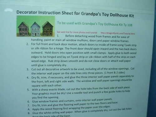 Miniature Grandpa/'s Toy Dollhouse Decoratring Sheet #GD104 Dragonfly