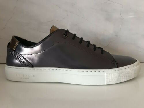 Genuine Ted Baker Jezter Brogue Metallic Leather Trainers Uk 7 RRP £130 New*