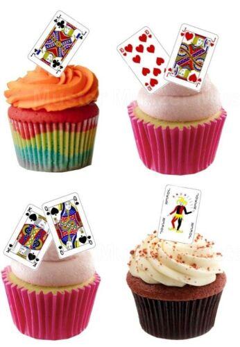 Spiel-Karten eßbar Torten-Bild-Aufleger Party Deko Muffin Geburtstag Romme Skat