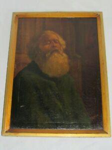 06f6 Ancienne Hst Huile Sur Toile Peinture Portrait Vieillard Signe Denavo Xixe Larges VariéTéS