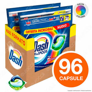 96 Pastiglie Dash All in 1 Salva Colore Pods Detersivo per Lavatrice in Capsule